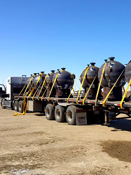 Sand separation units on truck bed