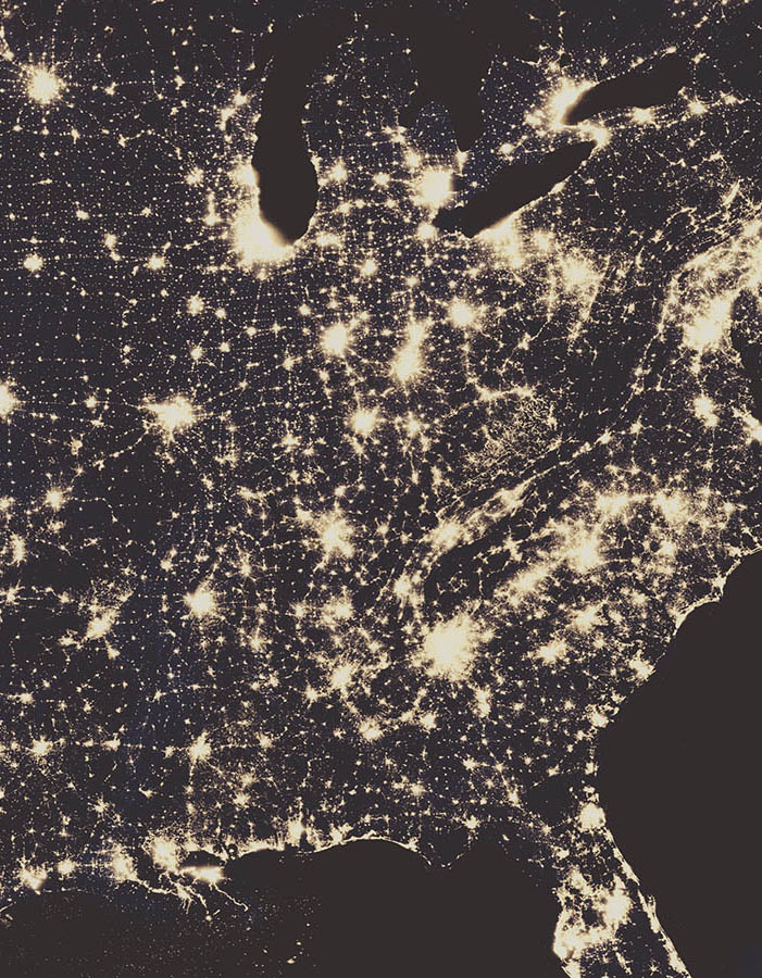 satellite view of america at night